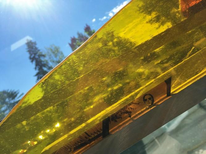 Oeuvre Aire de transit lumière/matière de Daniel Dutil (détail)